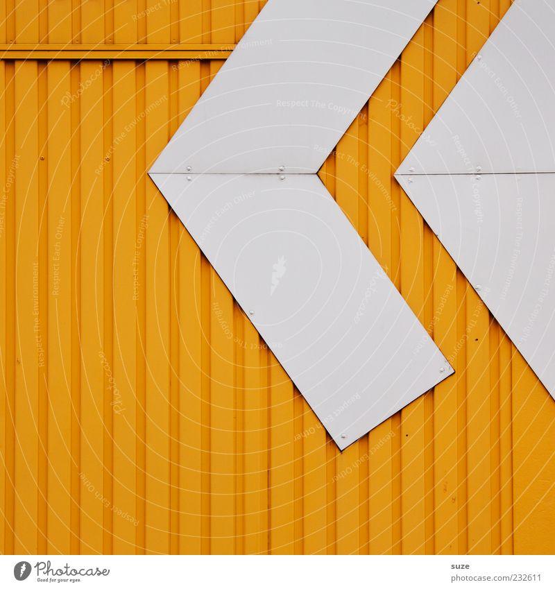Replay weiß gelb Wand Architektur Stil Metall Linie Hintergrundbild Fassade authentisch Design modern Streifen Spitze einfach Pfeil
