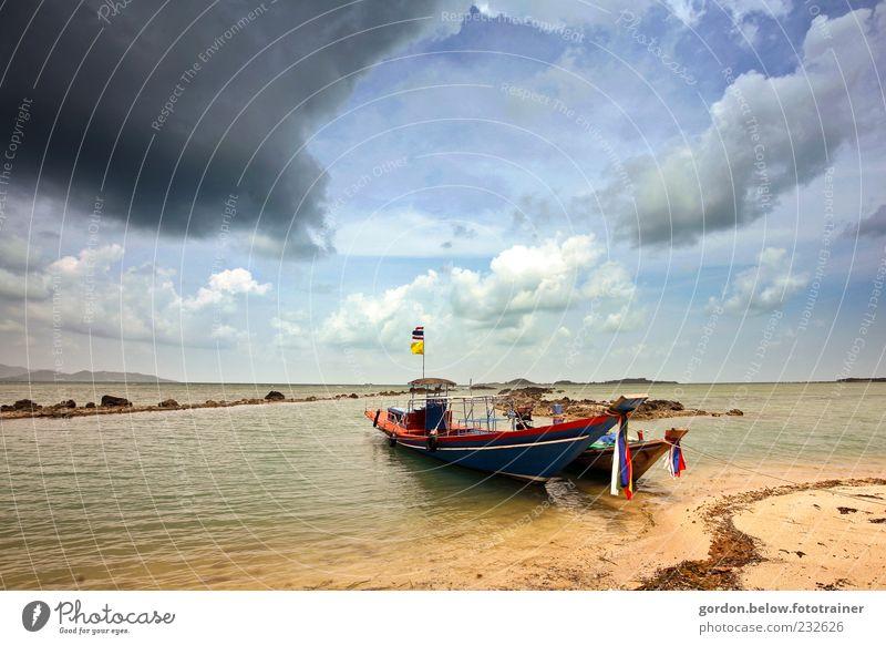 vor dem Sturm Himmel blau Wasser Sonne Sommer Meer Strand Wolken Ferne gelb Erholung Landschaft Freiheit Wasserfahrzeug Wellen Wind