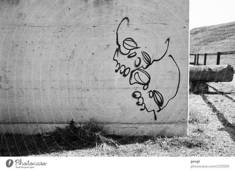 Zerfall Wiese Hügel Mauer Wand Fassade Beton Graffiti Linie Tod Schatten Baumstamm Schwarzweißfoto Außenaufnahme Menschenleer Textfreiraum links Sonnenlicht
