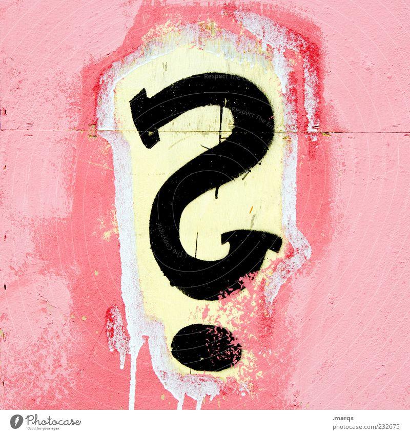 ? Farbe Wand Graffiti Mauer rosa Schriftzeichen Kommunizieren Zukunft einzigartig Zeichen Fragen Rätsel ungewiss Zweifel Subkultur Misstrauen