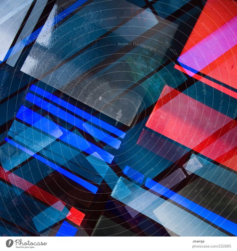 Merged Lifestyle Stil Design Kunst Glas Linie leuchten außergewöhnlich Coolness trendy einzigartig blau rot chaotisch Farbe Surrealismus Mosaik modern Licht