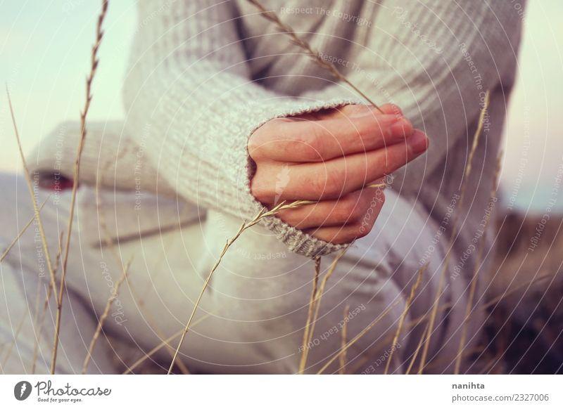 Mensch Natur Jugendliche Mann Pflanze Sommer schön Junger Mann Hand Erholung Erwachsene Leben Lifestyle Umwelt Gesundheit Herbst