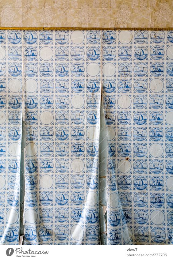 sailing away alt blau Linie braun ästhetisch authentisch Dekoration & Verzierung kaputt Streifen Vergänglichkeit einfach Umzug (Wohnungswechsel) Vergangenheit Tapete Verfall Renovieren