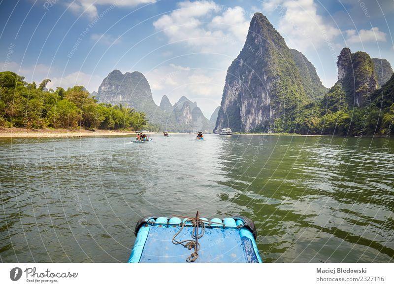 Li River Bambus Floß von Guilin nach Xingping, China. Erholung Ferien & Urlaub & Reisen Tourismus Ausflug Abenteuer Freiheit Sightseeing Expedition Sommer