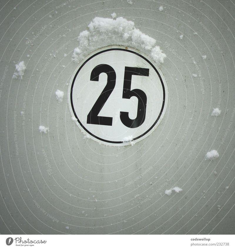 white christmas Winter Wetter Schnee Ziffern & Zahlen kalt Design 2 5 fünfundzwanzig Geschwindigkeitsbegrenzung Dezember Hinweisschild rund 25 grau
