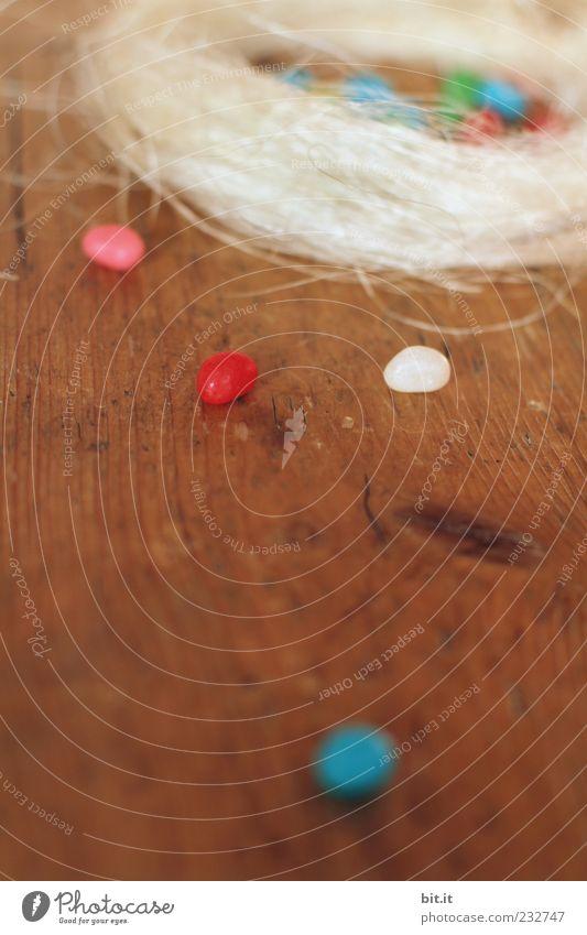 frohe Ostern wünsch ich euch !! Holz Feste & Feiern Tisch Dekoration & Verzierung rund Süßwaren verstecken Tradition Holzfußboden Maserung Nest Heu Versteck