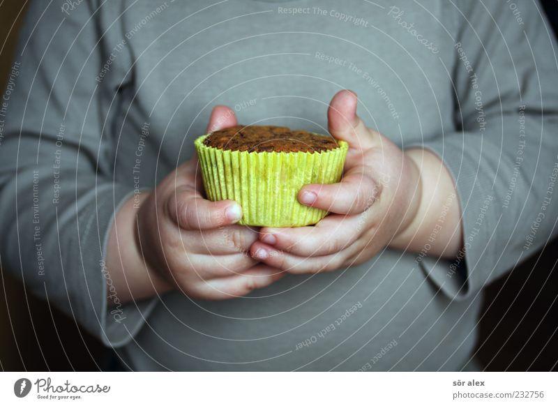 Bescheidenheit Lebensmittel Dessert Süßwaren Backwaren Muffin Ernährung Kaffeetrinken Mensch maskulin Kleinkind Kindheit Arme Hand Finger Bauch 1 1-3 Jahre
