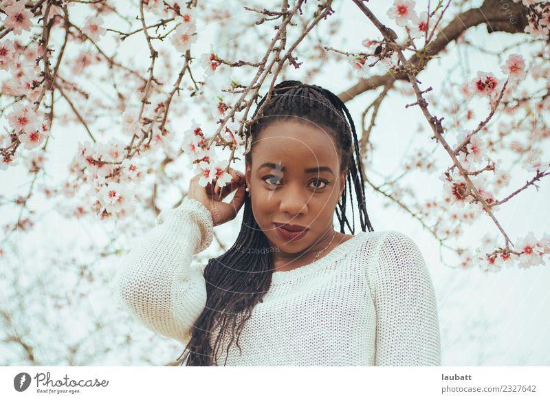 Mandelblüte Lifestyle elegant Stil exotisch Freude schön Haare & Frisuren Gesicht Junge Frau Jugendliche Umwelt Natur Blume Kirschblüten Kirschbaum Mandelbaum