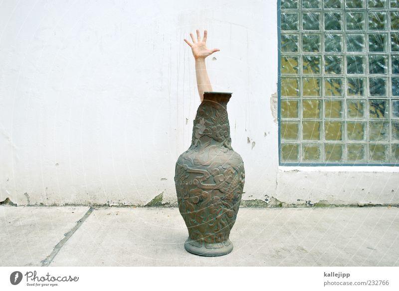 diät Mensch Hand Fassade Arme Finger Dekoration & Verzierung China skurril Vase Versteck Chinesisch fixieren Porzellan verziert Asien Glasbaustein