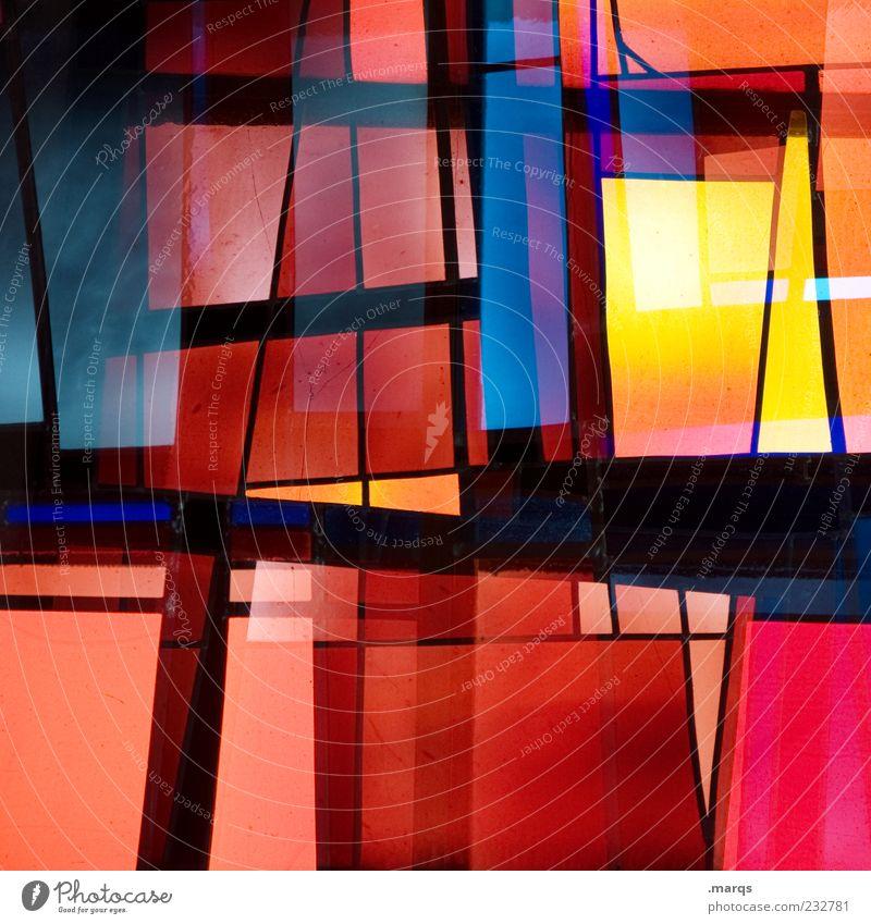 Timbered Stil Design Kunst Glas Linie leuchten außergewöhnlich trendy einzigartig mehrfarbig chaotisch Farbe Surrealismus Dekoration & Verzierung Mosaik modern