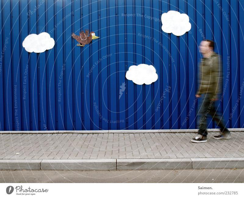 walking in heaven Mensch Mann Jugendliche blau Freude Wolken ruhig Erwachsene Erholung Leben Wand Freiheit Bewegung Mauer Horizont Zufriedenheit