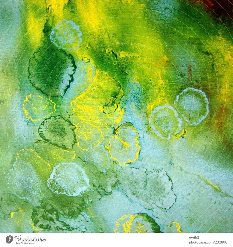 Der Künstler hatte Schnupfen blau grün gelb Farbstoff Kunst Tropfen Kreativität abstrakt Gemälde getrocknet Farbenspiel Kultur Farbenwelt
