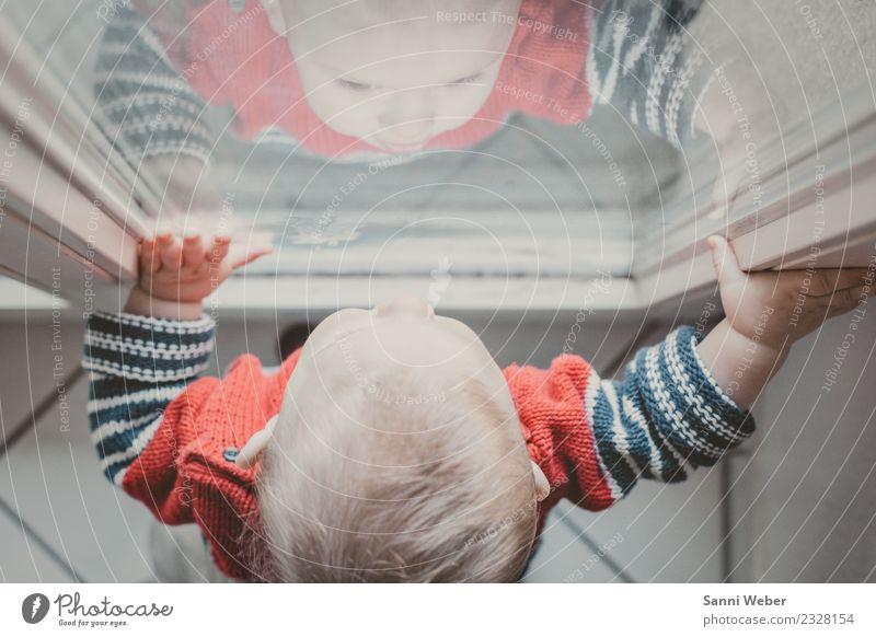 watching ... Mensch Kind Kleinkind Familie & Verwandtschaft Kindheit Leben Kopf Hand 1 0-12 Monate Baby beobachten Blick stehen blau rot weiß Kraft