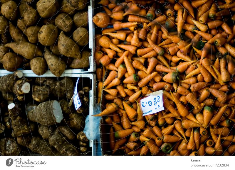 Gerübe braun orange liegen Lebensmittel Ordnung Ernährung Gemüse Bioprodukte Markt Kiste Möhre Vegetarische Ernährung Behälter u. Gefäße Angebot Preisschild
