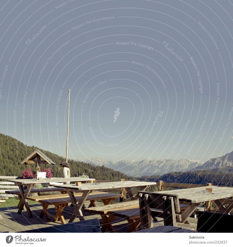Brotzeit gefällig? Restaurant Berghütte Natur Landschaft Urelemente Himmel Wolkenloser Himmel Schönes Wetter Pflanze Baum Wald Felsen Alpen Berge u. Gebirge