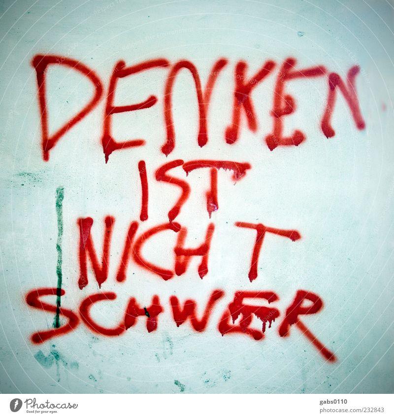 häää??? blau rot weiß Denken Graffiti Graz Verstand Erkenntnis Information Farbfoto Außenaufnahme Nahaufnahme Menschenleer schwer Aussage Schriftzeichen Fassade