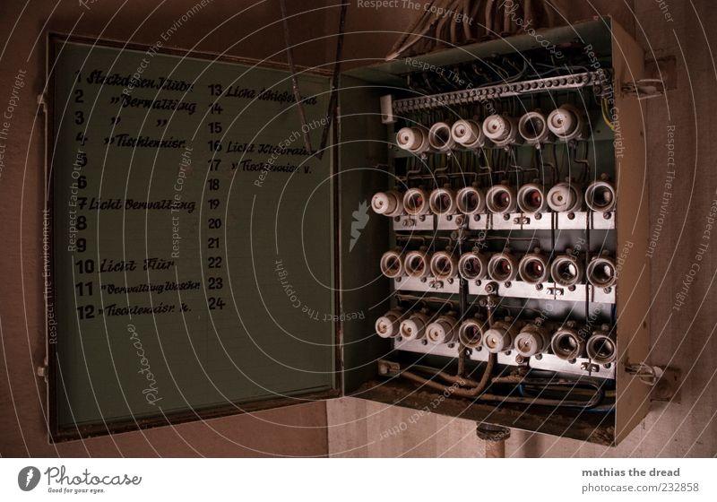SICHERUNG LOCKER? alt Haus offen Energiewirtschaft Schriftzeichen Elektrizität Zukunft Sicherheit Hinweisschild Technik & Technologie Fabrik Wissenschaften Kasten Ruine vergessen Fortschritt