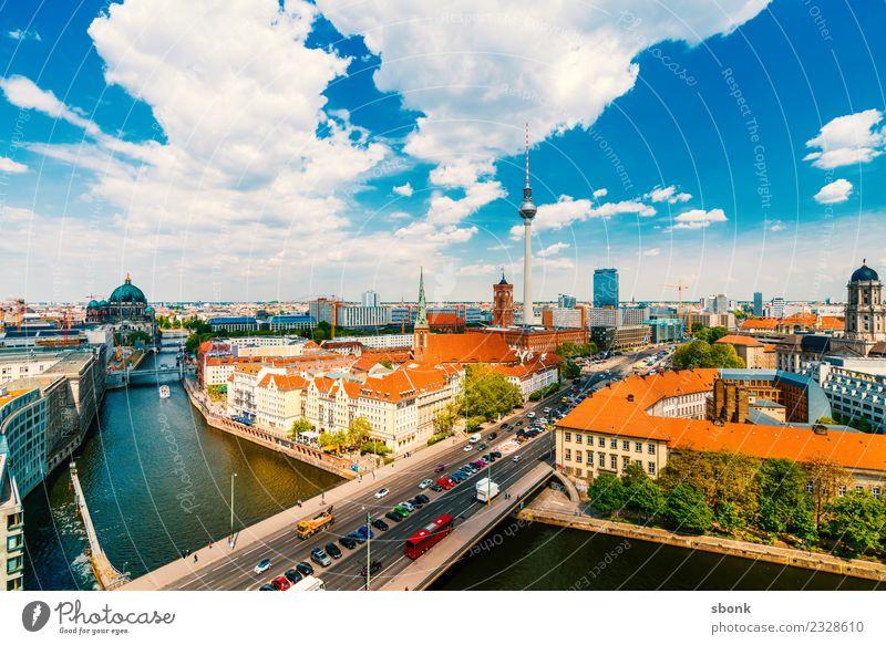 Berlin Sommerpanorama Ferien & Urlaub & Reisen Stadt Deutschland Turm Sehenswürdigkeit Wahrzeichen Skyline Hauptstadt Großstadt