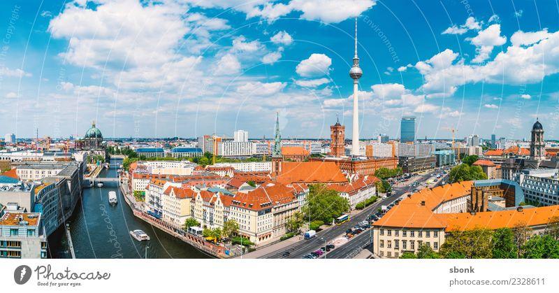 Berlin Sommerpanorama Ferien & Urlaub & Reisen Berliner Fernsehturm Stadt Hauptstadt Skyline Gebäude Architektur Sehenswürdigkeit Wahrzeichen Deutschland