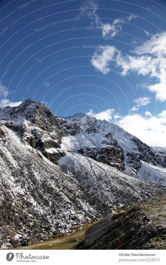 Sunday atop the mountain Himmel Natur schön Wolken ruhig Ferne Herbst kalt Schnee Landschaft Berge u. Gebirge Freiheit Felsen glänzend ästhetisch leuchten