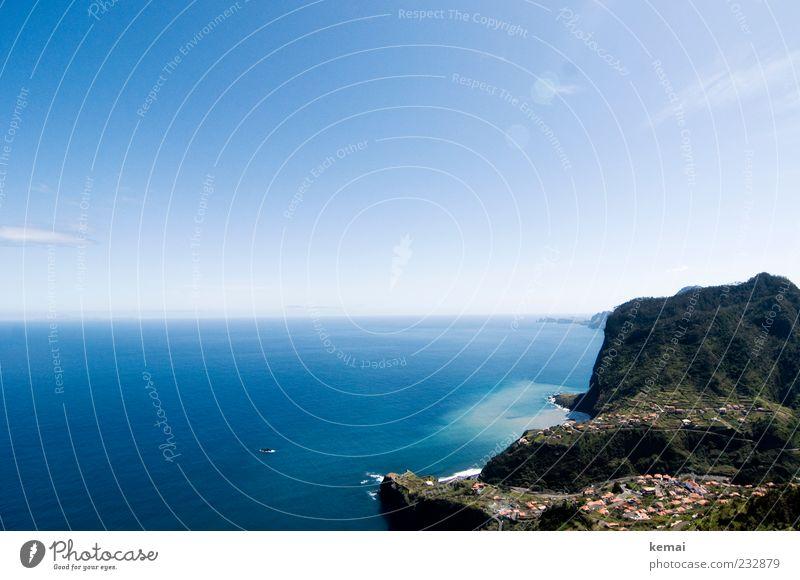 Adlerfelsen Himmel Natur blau Wasser Pflanze Sonne Meer Ferne Umwelt Landschaft Berge u. Gebirge Küste Horizont Felsen groß Klima