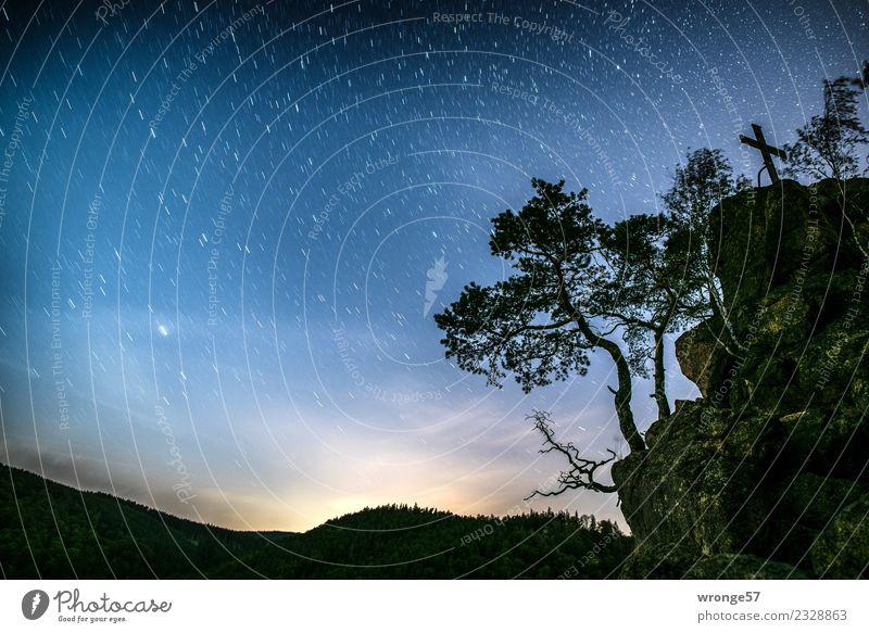 komplex | unser Sternenhimmel Himmel Natur blau grün weiß Landschaft Baum Ferne schwarz Herbst Felsen glänzend Luft Romantik Schneebedeckte Gipfel