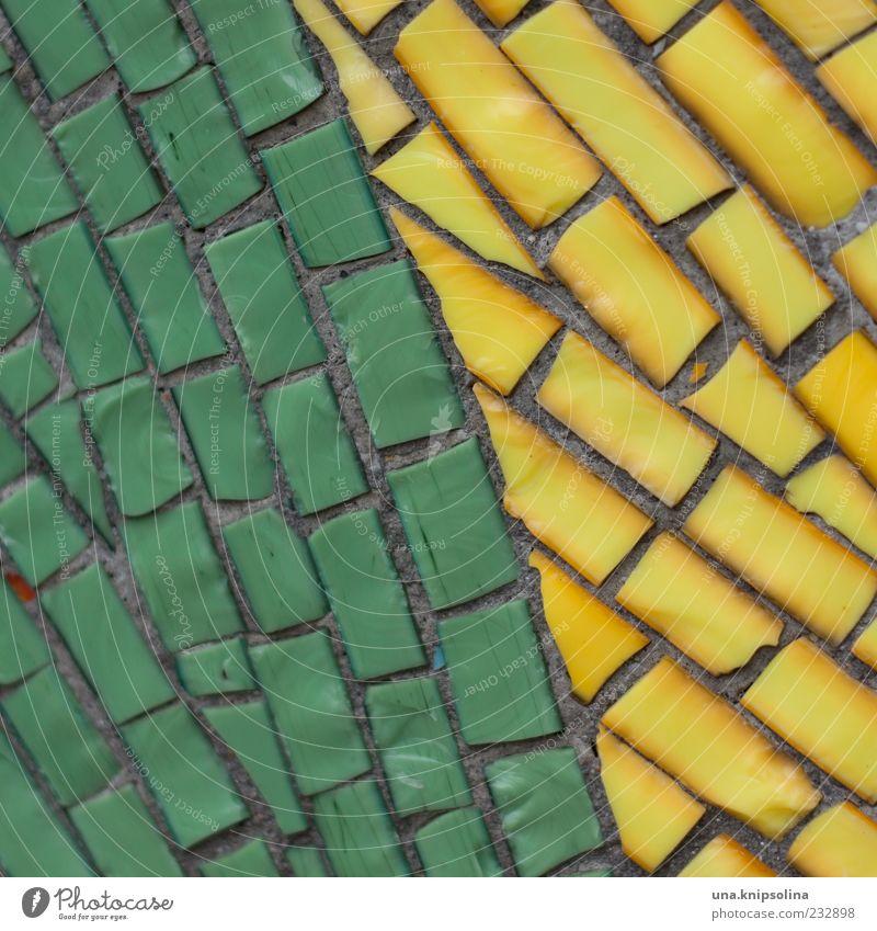 mosaik Mauer Wand Fassade Mosaik gelb grün Stein Dekoration & Verzierung mehrfarbig Fuge Textfreiraum Farbfoto Nahaufnahme Detailaufnahme Muster