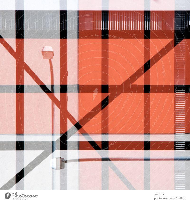 Laterne | Laterne Lifestyle Stil Gebäude Architektur Fassade Linie Streifen außergewöhnlich rot Farbe Surrealismus Reflexion & Spiegelung Straßenbeleuchtung