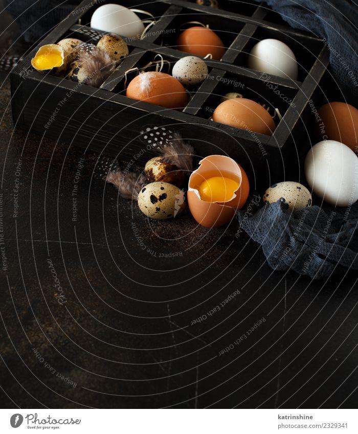 Hühner- und Wachteleier auf dunklem Hintergrund Frühstück Dekoration & Verzierung Feste & Feiern Ostern dunkel frisch klein natürlich retro gelb weiß Hähnchen