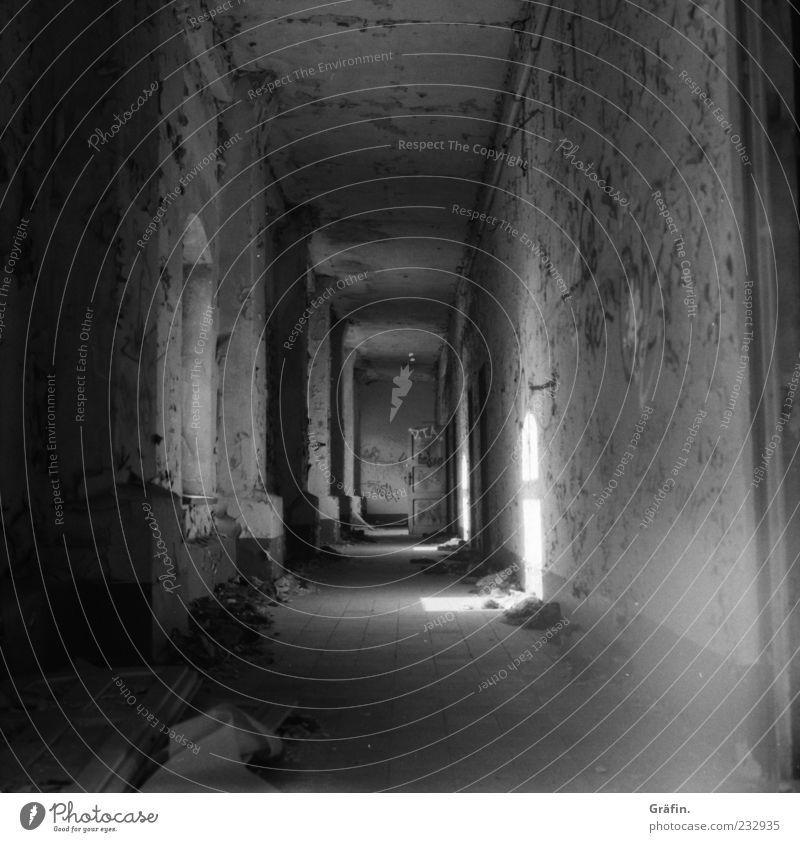 Gang Industrieanlage Fabrik Mauer Wand Fenster Flur Stein alt dreckig dunkel gruselig kaputt grau schwarz weiß stagnierend Verfall Vergänglichkeit