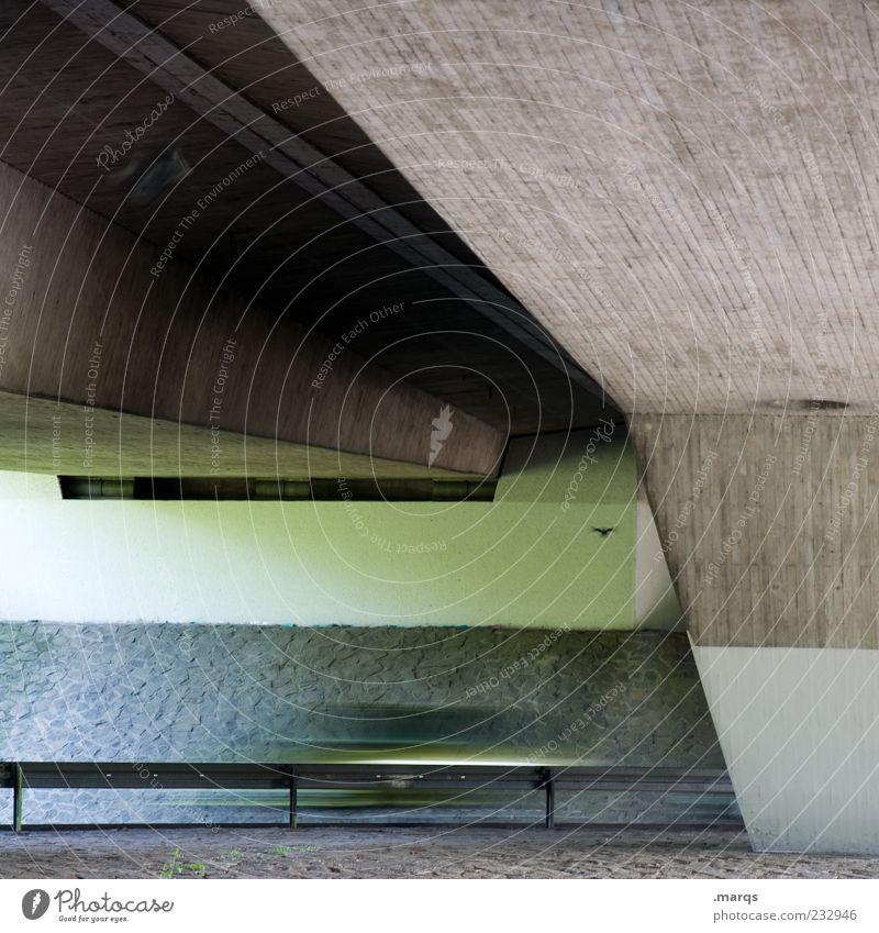 Schnellstrasse Bauwerk Architektur Brückenpfeiler Brückenkonstruktion Verkehrswege Straße Zukunft dunkel Gedeckte Farben Außenaufnahme Menschenleer
