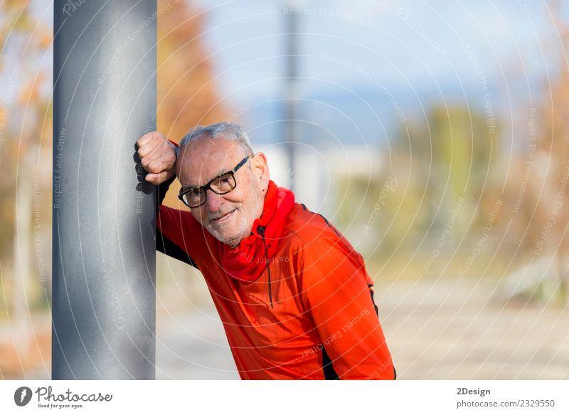 Gutaussehender Mann mittleren Alters in Sportuniform Lifestyle Glück Körper Erholung Leichtathletik Sportler Joggen maskulin Erwachsene Männlicher Senior