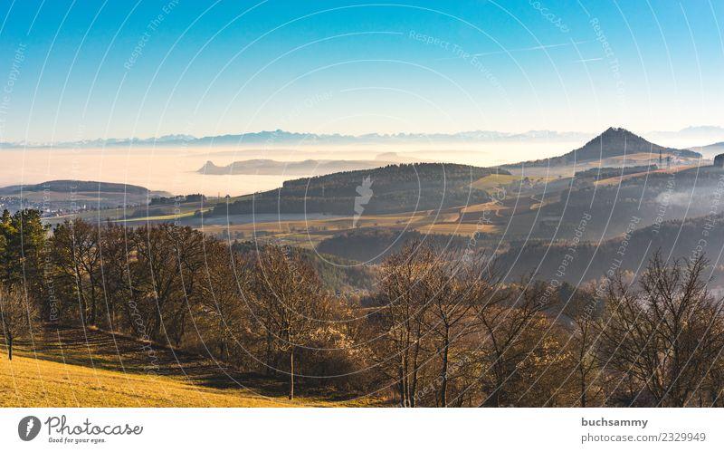 Hegau Landschaft Ferien & Urlaub & Reisen Natur Wetter Nebel Baum Wiese Feld Wald Alpen Vulkan wandern Ausblick Dunst Europa Himmel Lebensraum Panorama