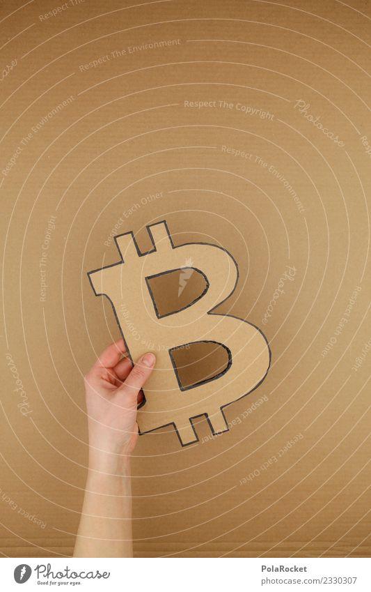 #A# Bitcoin Kunst Kunstwerk ästhetisch Kryptowährung gebastelt Geld Geldgeschenk Karton festhalten Farbfoto Gedeckte Farben Innenaufnahme Studioaufnahme