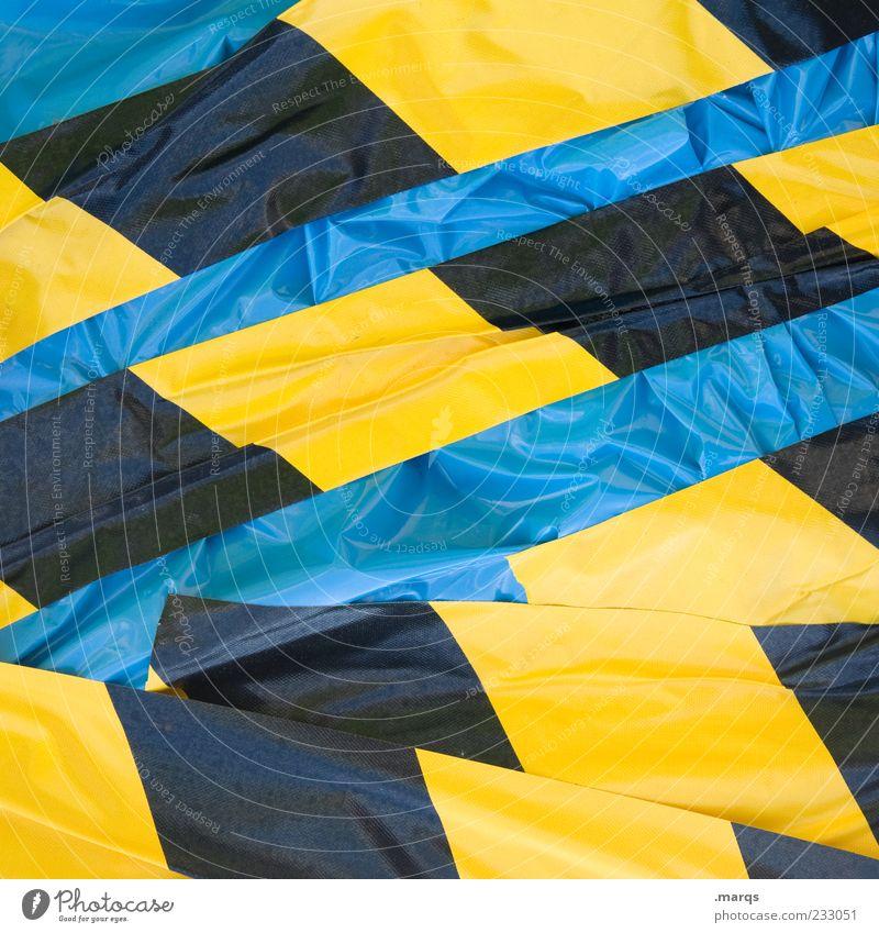 Verpackt blau Farbe schwarz gelb Linie Hintergrundbild Schilder & Markierungen planen Streifen Kunststoff Zeichen chaotisch Textfreiraum Verpackung Faltenwurf