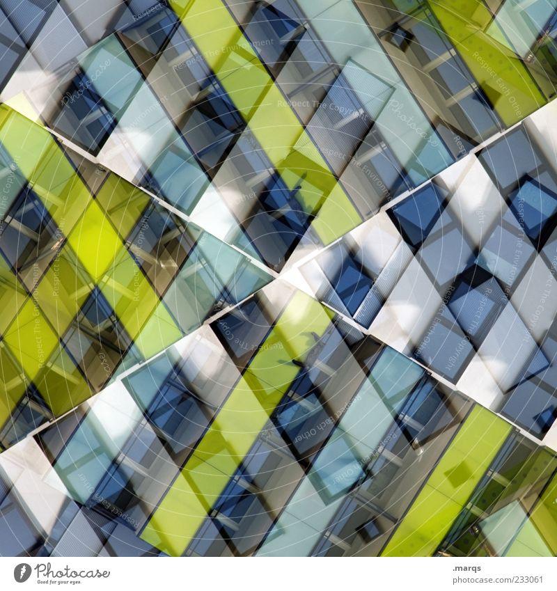A Cross Stil Design Gebäude Fassade Fenster Linie außergewöhnlich einzigartig modern blau grün weiß chaotisch Farbe Perspektive Surrealismus Symmetrie
