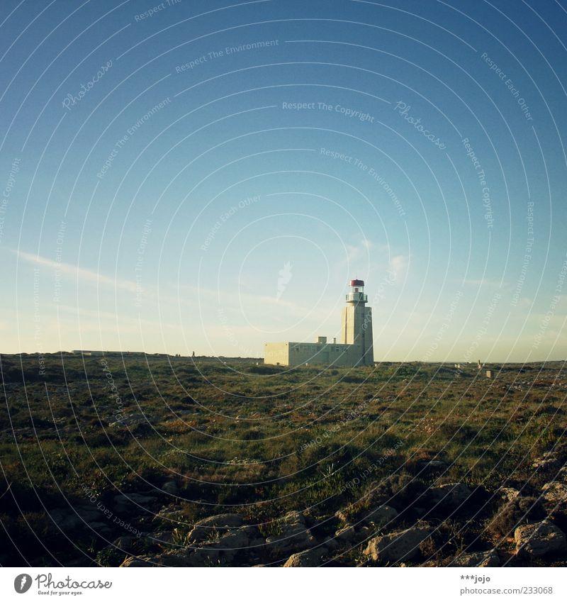 to the lighthouse. Himmel Natur Ferien & Urlaub & Reisen Meer Einsamkeit Ferne Landschaft Architektur Stein Küste Gebäude Horizont Felsen leuchten Turm trocken