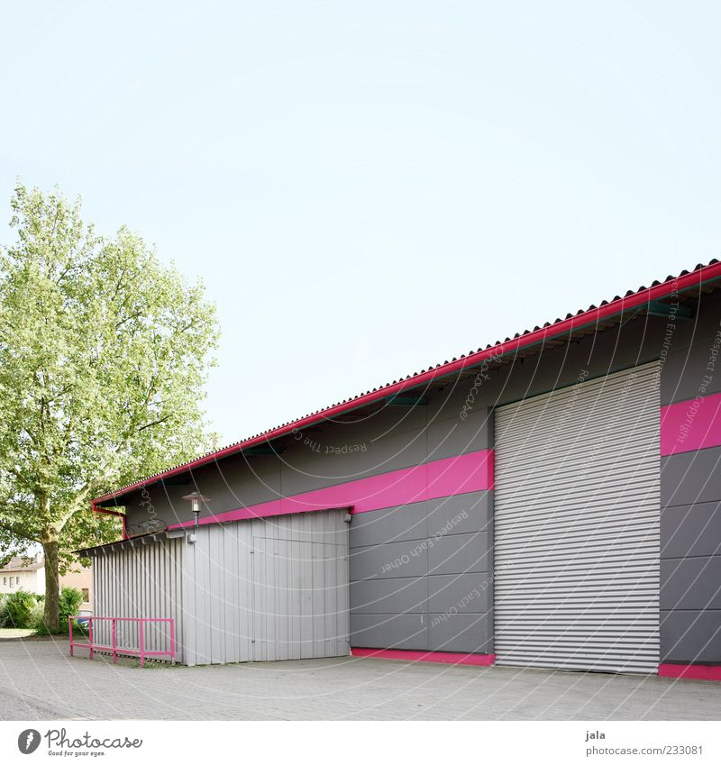 pink Baum Architektur grau Gebäude rosa Bauwerk Fabrik Tor Blech Wolkenloser Himmel Industrieanlage Fabrikhalle Rolltor