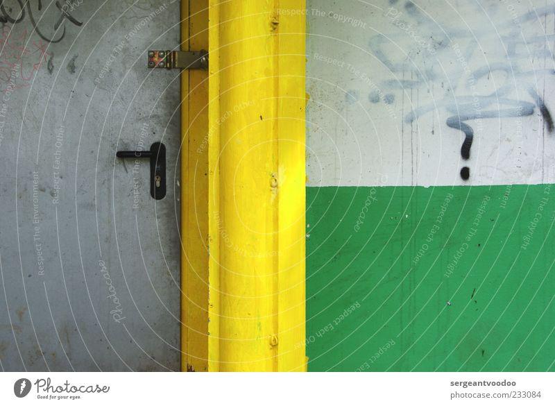 ordem e progresso Gebäude Architektur Mauer Wand Fassade Tür Beton Zeichen Schriftzeichen Graffiti Linie alt eckig kaputt gelb grau grün Farbe Farbfoto