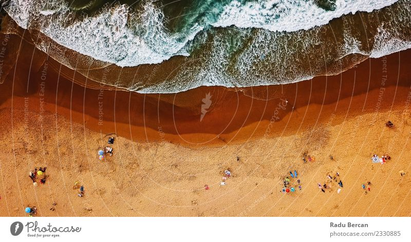 Luftaufnahme von Menschen, die Spaß am Strand in Portugal haben. Lifestyle Schwimmen & Baden Ferien & Urlaub & Reisen Freiheit Sommer Sonnenbad Meer Wellen