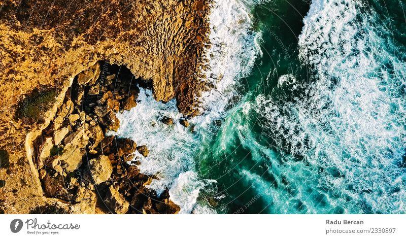 Luftaufnahme von der fliegenden Drohne der Meereswellen Umwelt Natur Landschaft Erde Sand Wasser Sommer Wetter schlechtes Wetter Unwetter Wind Sturm Hügel