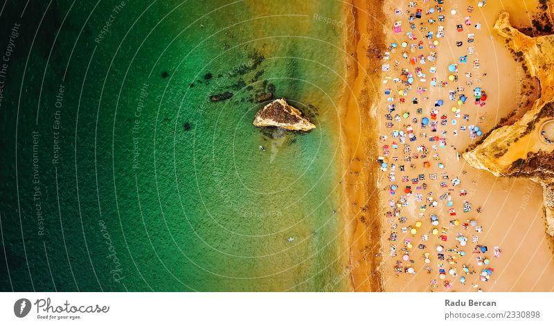 Luftaufnahme von Menschen, die Spaß am Strand von Lagos haben. Lifestyle exotisch Freude Wellness Schwimmen & Baden Ferien & Urlaub & Reisen Sommer Sommerurlaub