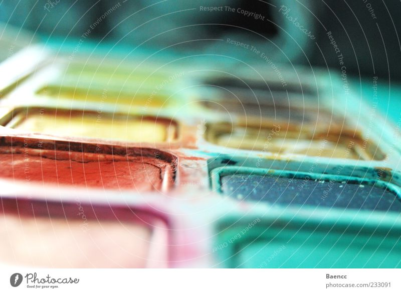 Palettierte Farben Freizeit & Hobby Kunst blau gelb rot Farbstoff Wasserfarbe Farbfoto Innenaufnahme Textfreiraum oben Unschärfe Farbkasten Menschenleer