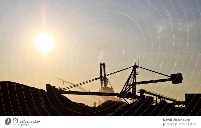 Fofftein Maschine Technik & Technologie Energiewirtschaft Industrie gelb schwarz weiß Bergbau Kran Himmel Sonne Glück auf Arbeit & Erwerbstätigkeit Kohle Bagger