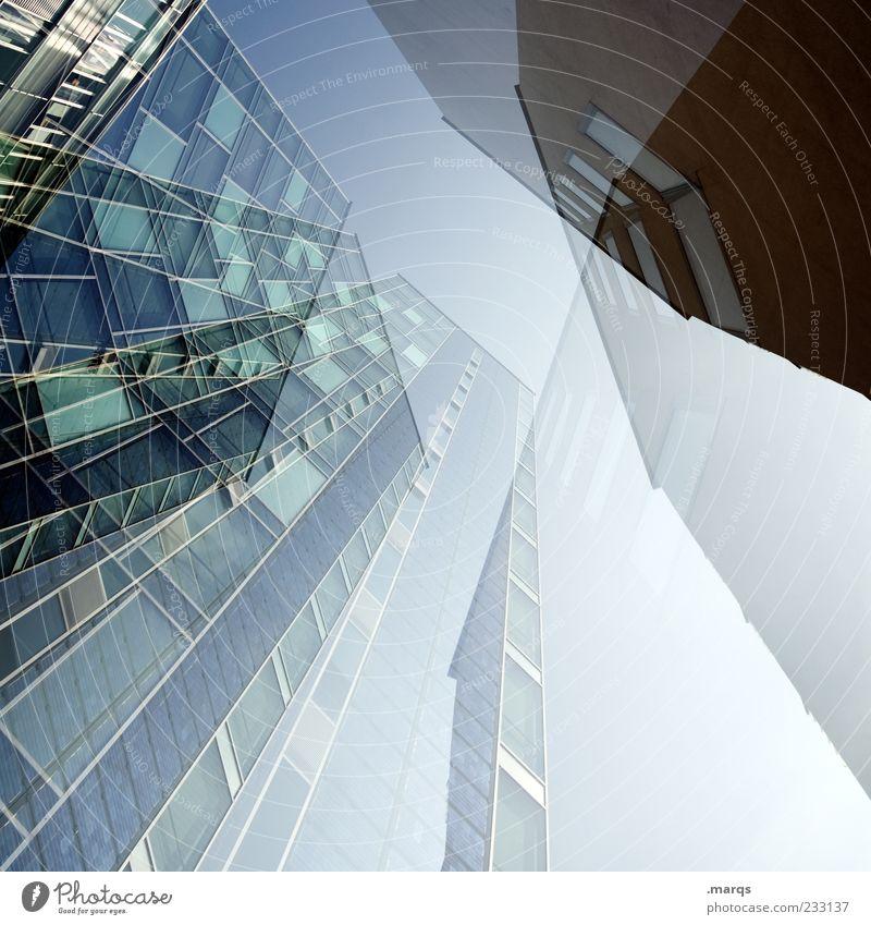 Banking blau Architektur Gebäude Fassade hoch groß Hochhaus außergewöhnlich Zukunft Perspektive Bankgebäude Doppelbelichtung Bürogebäude Richtung abstrakt Froschperspektive