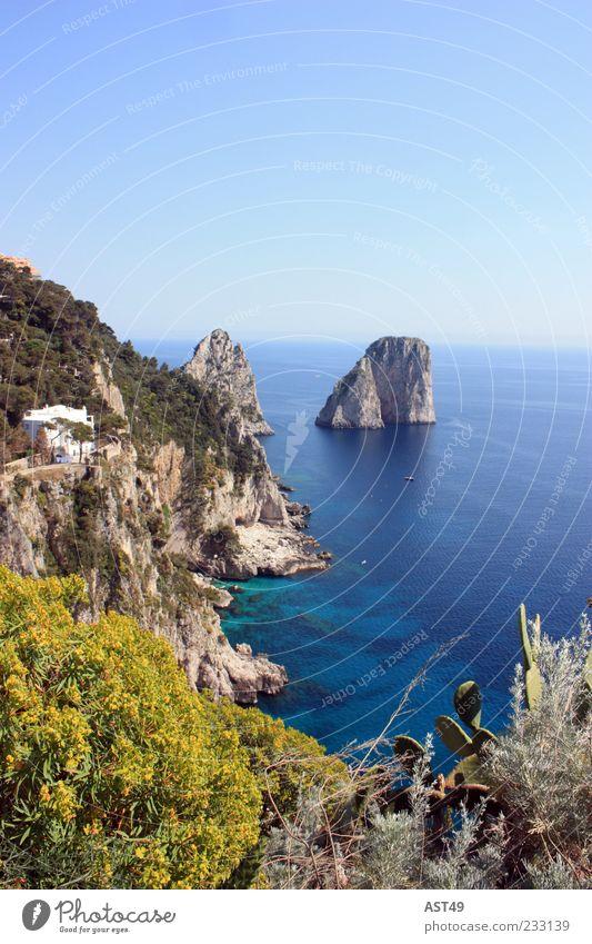 Capri mit Sonne Natur Ferien & Urlaub & Reisen schön Sommer Meer ruhig Erholung Ferne Berge u. Gebirge Küste Horizont Felsen Insel Italien Bucht Sommerurlaub