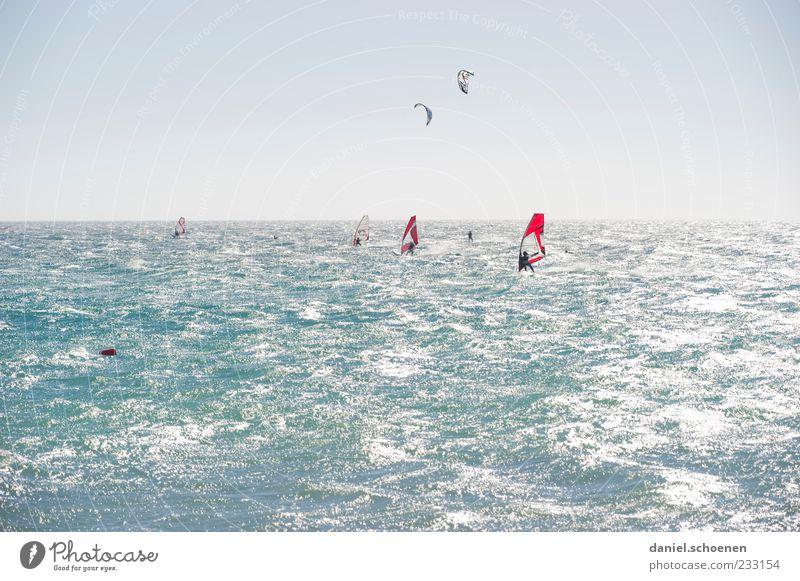 neulich am Baggersee Mensch blau Ferien & Urlaub & Reisen Sommer Meer Freude Erholung Bewegung hell Wellen Wind Freizeit & Hobby mehrere Tourismus