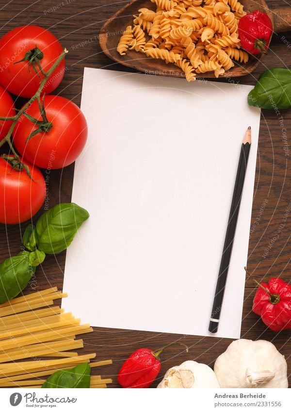 Rezeptzettel für Pasta mit Zutaten Lebensmittel Gemüse Kräuter & Gewürze Bioprodukte Vegetarische Ernährung Italienische Küche lecker gelb Hintergrundbild basil