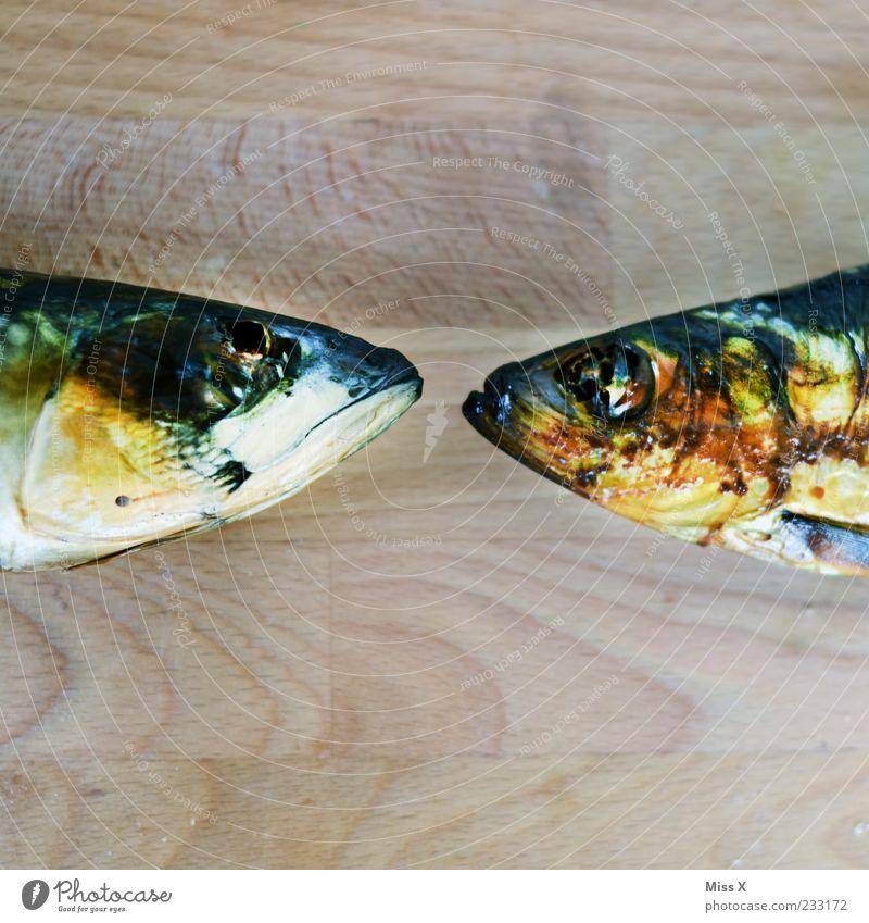 Bunte Bussis Lebensmittel Fisch Tier 2 gold Fischkopf Kopf geräuchert Forelle Makrele Schuppen Farbfoto mehrfarbig Nahaufnahme Detailaufnahme Menschenleer
