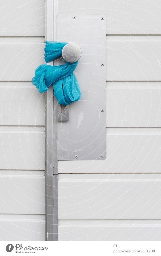 tag der offenen tür Haus Tür Eingang Eingangstür Türschloss Türknauf Stoff Tuch blau Vertrauen Sicherheit Schutz Gastfreundschaft achtsam Wachsamkeit
